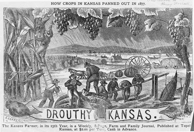 Henry Worrall's popular image Drouthy Kansas appeared on the front page of the KansasFarmer in 1879. Courtesy of the Kansas State Historical Society.